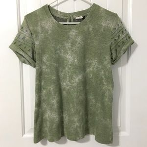 Anthropologie Green Marbled Top